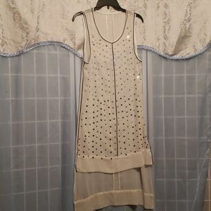 WHITE CHIFFON RHINESTONE SLIP DRESS NO TAGS